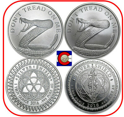 2016 & 2018 Silver Shield Don't Tread on Me 1 oz. Silver Rounds in capsules