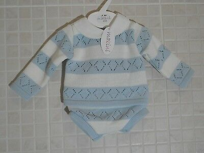 Baby Boys  Knitted Spanish Romany Style 2 piece set Jam pants Blue 0-3 - 18 m