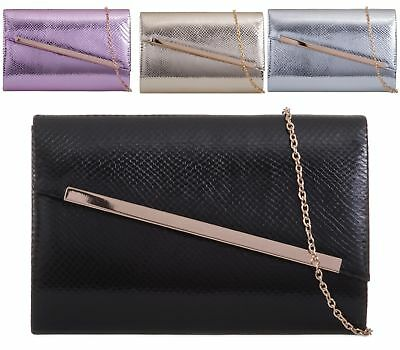 Ladies Chain Envelope Party Prom Fashion Womens Wedding Patent Clutch Bags