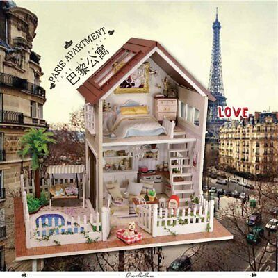 DIY Paris Cabin Wooden Dollhouse Handcraft Miniature Kit + LED Light Best Gift
