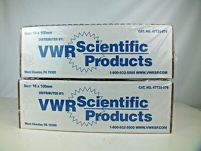 (2) VWR 47729-576 Culture Tubes Disposable Borosilicate Glass 250 ct 16x100mm