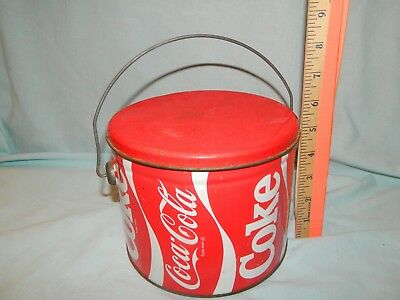 Vintage Metal Coca Cola Advertising Tin Lunch Bucket Pail Bucket with Lid