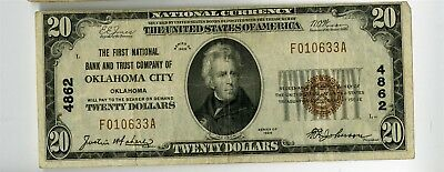 1929 $20 First Ntl Bank & Trust Oklahoma City Ok National Banknote