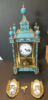 Vintage 21 Inch People's Republic of China Cloisonne Clock NO 64