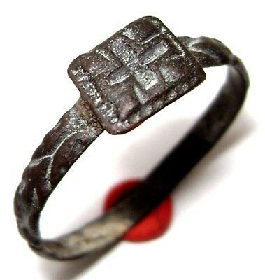 Ancient Medieval bronze Ring with CROSS on bezel.