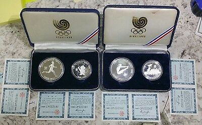 2 ~ 1 Oz Silver Proofs, 2 ~ 0.5 Oz. Silver Proofs Seoul 1988 Olympics 2 Sets!!