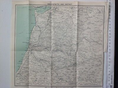 Aberystwyth And District, Wales,  C1927 Vintage Map, Original