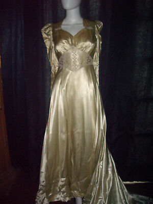 Vintage 1940s Satin Wedding Dress with Train chamagne liquid satin hand beaded
