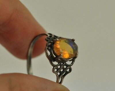 Vintage fine silver ring with opal.