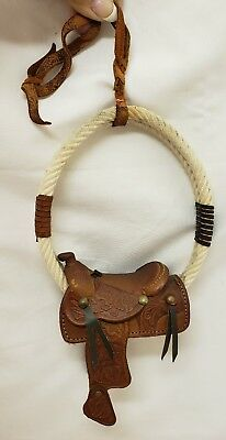 Western Miniature Horse Saddle Ornament New Real Leather Stamped Tooling rope