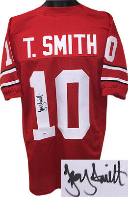 dd0f035af1e Troy Smith signed Red Custom Stitched College Football Jersey XL- PSA Holo