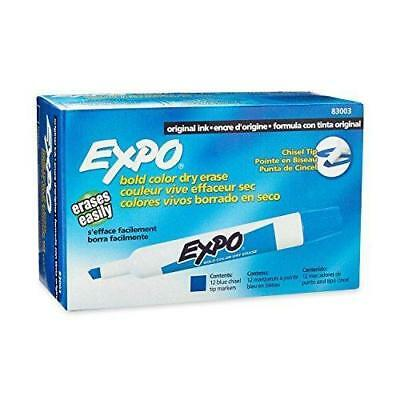 EXPO 8003 Low-Odor Dry Erase Markers, Chisel Tip, Blue, 12-Count