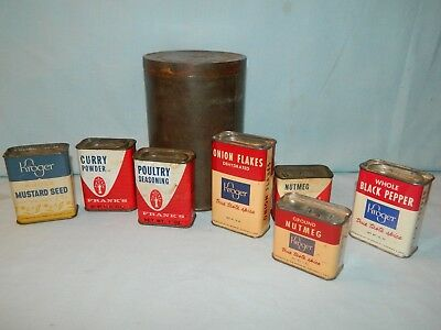 Vintage Lot 8 Items Maxwell Coffee & Kitchen Spice Advertising Tins