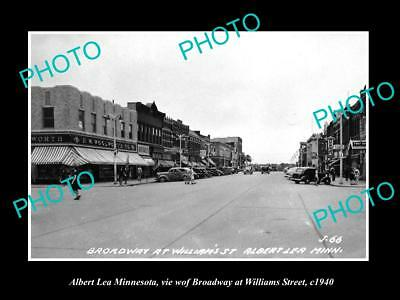 OLD LARGE HISTORIC PHOTO OF ALBERT LEA MINNESOTA, THE BROADWAY & STORES c1940