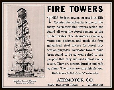 1932 Ad  Aermotor Co Fire Towers Elk Country Pennsylvania Fire