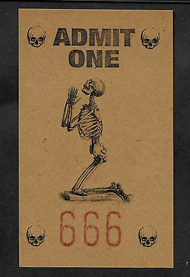 One Way Ticket To Hell Printed On Genuine 1800s 3x5 Card Unique Item Satan Devil