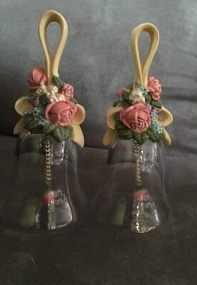 """Avon Floral Bouquet (2) Bells Over 24% Full Lead Crystal 1989 5 1/2""""H"""