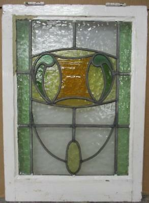 "MID SIZED OLD ENGLISH LEADED STAINED GLASS WINDOW Gorgeous Drop 19.25"" x 27"""
