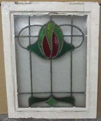 "OLD ENGLISH LEADED STAINED GLASS WINDOW Pretty Abstract Floral 16.25"" x 20.5"""