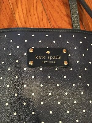 KATE SPADE NY Leather Diaper Bag EUC Navy / White Polka Dot Handbag Tote