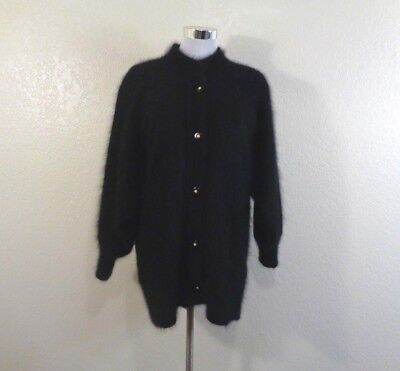 80s BLACK FURRY ANGORA BLEND DOLMAN SLEEVE OVERSIZED CARDIGAN/JACKET SZ M