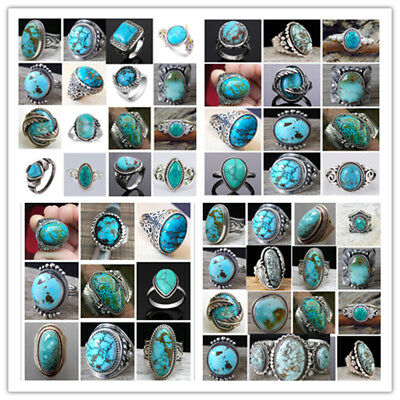Women Ring 925 Silver Sterling Turquoise Gemstone Wedding Jewelry Bridal Men