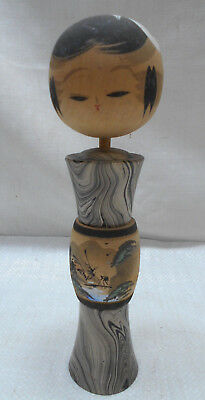 Vintage Kokeshi Creative Style Wooden Japanese Doll Handpainted Bridge #512