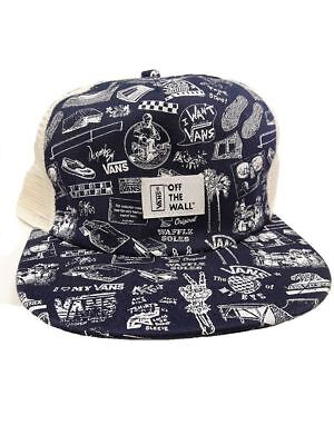 189a711e37b Vans Off The Wall Anniversary Blue White Trucker Hat Cap NWT Adjustable One  Size