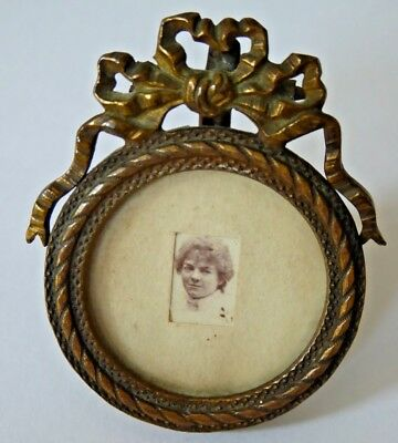 Vintage Miniature Picture Frame with Miniature Photograph