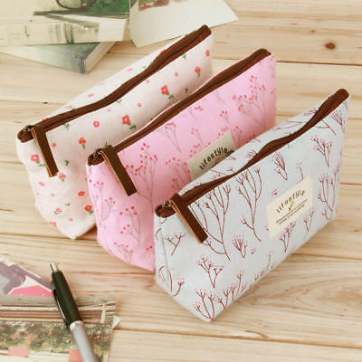 Cute Flower Pencil Pen Case Cosmetic Makeup Bag Storage Pouch Purse Stationery