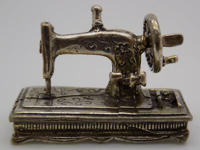 Vintage Solid Silver Italian Made Sewing Machine Miniature, Figurine, Stamped
