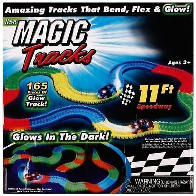 Magic Tracks 18FT 165Pcs Mega Set With LED Race Cars Colorful Glow In The Dark