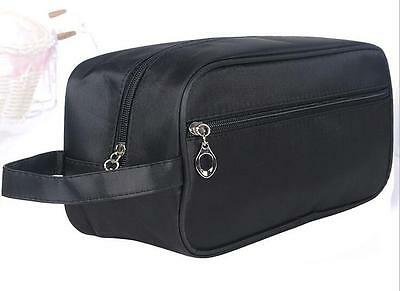 Quality Men's Shaving, Toiletry and Travel Bag, 2 Zipper - Black