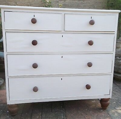 Victorian Chest of Two Over 3 Drawers - Large - Shabby Chic Chalky Paint Finish
