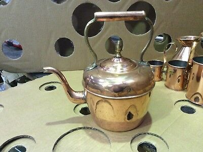 Genuine Antique Vintage Round Copper Kettle + Brass Fittings Hinged Handle VGC
