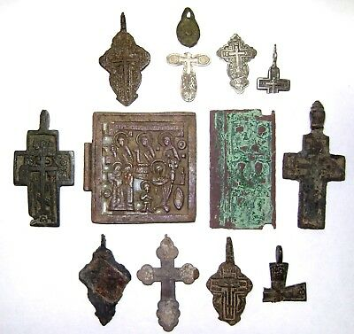 Ancient lot of 13 bronze Believer pendats / crosses / icons  Middle Ages.