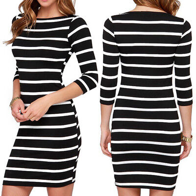 Fashion Women Round Neck Black and White Striped Dress Straight Casual Dres Q1H1