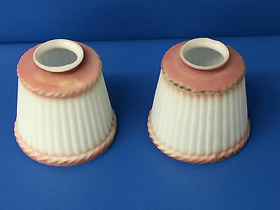 Pair of Vintage or Antique Frosted Glass  White Pink Chandelier or Sconce Shades