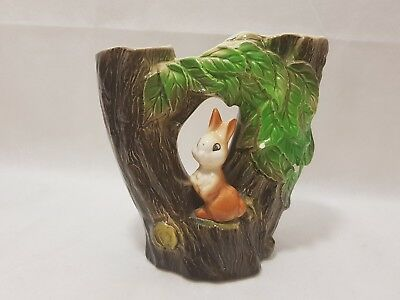 Vintage Withernsea Eastgate Pottery Bunny Double Fauna Posy Vase