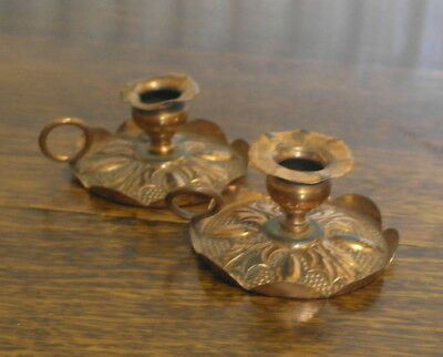 antique copper pair CANDLE  SICK CHAMBER STICKS