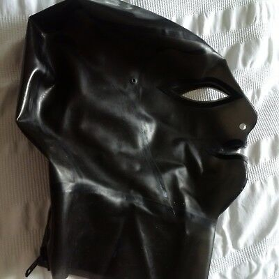 Latex nemesis hood, trans black, black trim, rubber fetish