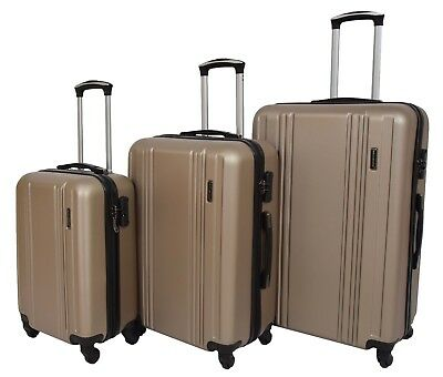 Hard Shell ABS 4 Wheel Spinner Suitcase Travel Luggage Lightweight Taupe
