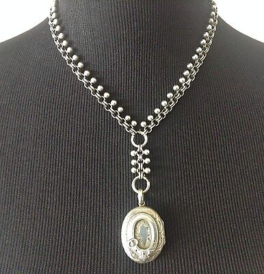 Antique Victorian English Sterling Silver Chain Necklace + Locket 38 grams