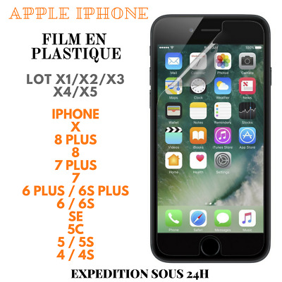 Film Plastique Protection Ecran pour Apple iPhone XS/XR/8+/8/7+/7/6+/6/SE/5/