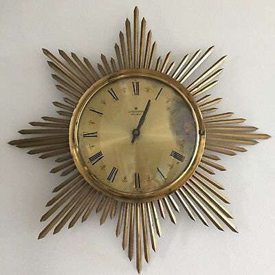 Mid Century Sunburst Starburst Wall Clock Junghans Germany 1950s 1960s Retro