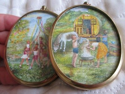 Pair of Signed Miniature Watercolour Paintings of Girls - Gypsy Travellers