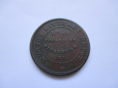 Hard Times Token - Morse's Literary Depot - No. 45 Fourth St. - Pittsburg, Pa