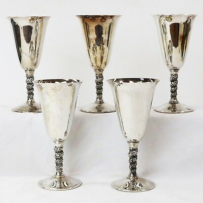 Lot 5 Valero Silverplate Wine Goblets Flutes w/ Grapevine Stems, Made in Spain