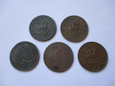 Lot Of 5 Different Canadian One Cent Tokens - 1837, 1842, 1850, 1852, 1854