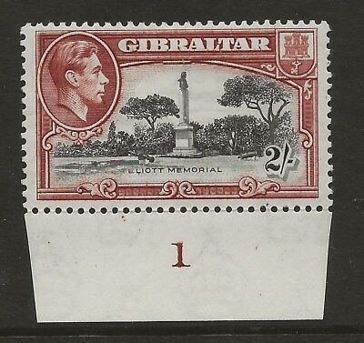 GIBRALTAR  SG 128b  1942  2/- PERF 13  WITH CONTROL   FINE MOUNTED MINT